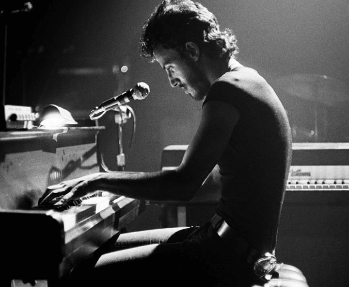 Bruce on piano at Harvard Square Theatre, 1974