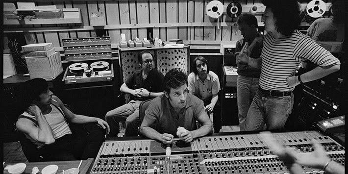 Bruce Springsteen and the E Street in the studio with Jon Landau 1970's