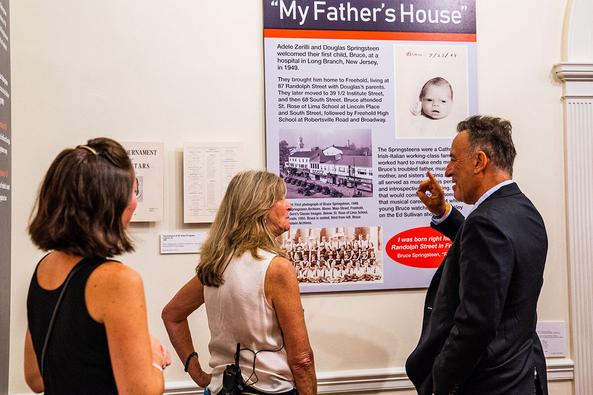 Melissa Ziobro, Eileen Chapman and Bruce Springsteen at the opening of His Hometown exhibit in Freehold. September 29, 2019