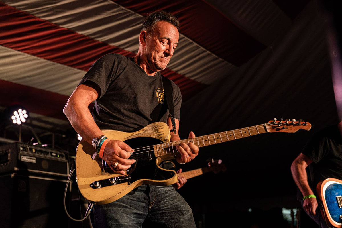 Bruce Springsteen performing with Joe Grushecky at opening of His Hometown exhibit. September 29, 2019.